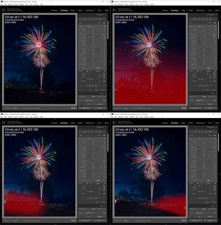 editing a fireworks photo in lightroom