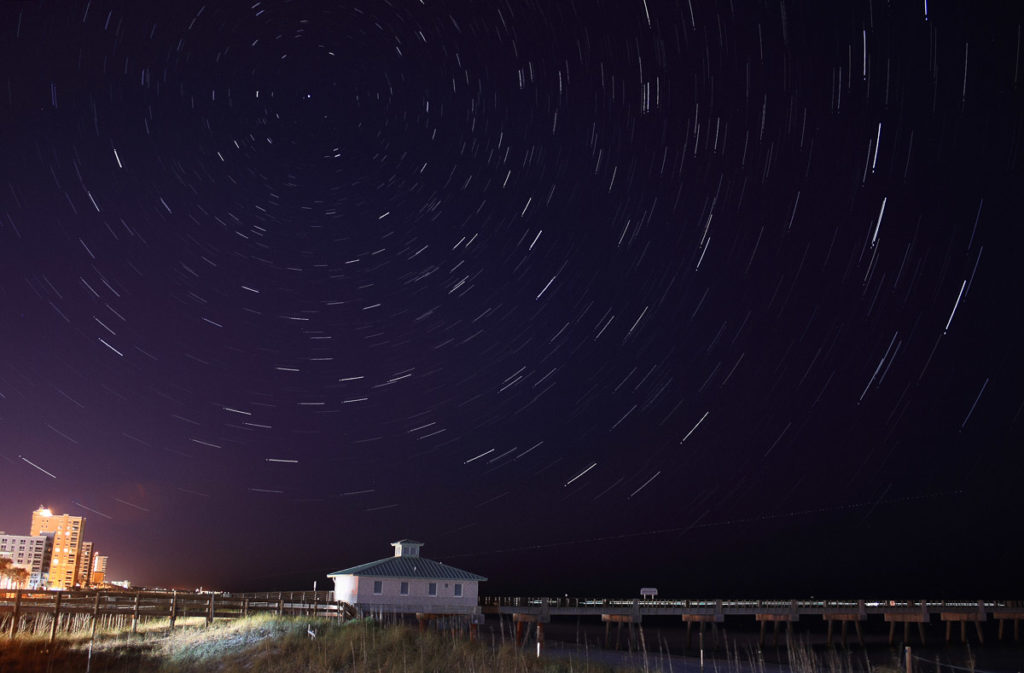 star trails over jacksonville beach florida
