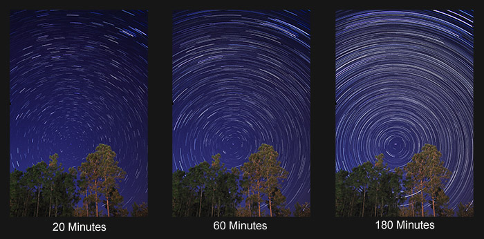 star trails exposure time examples