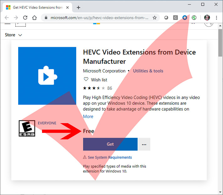 hevc video extensions free