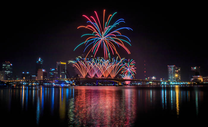 New Year's Eve Celebration over Jacksonville, Florida