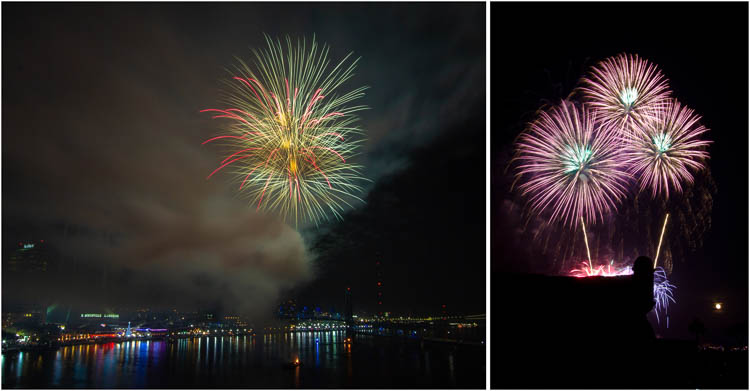 Examples of poor preparation in photographing fireworks