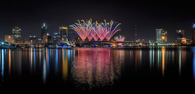New Years Eve Fireworks over Jacksonville, Florida